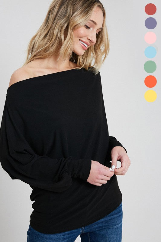 Off one shoulder knit long sleeve top