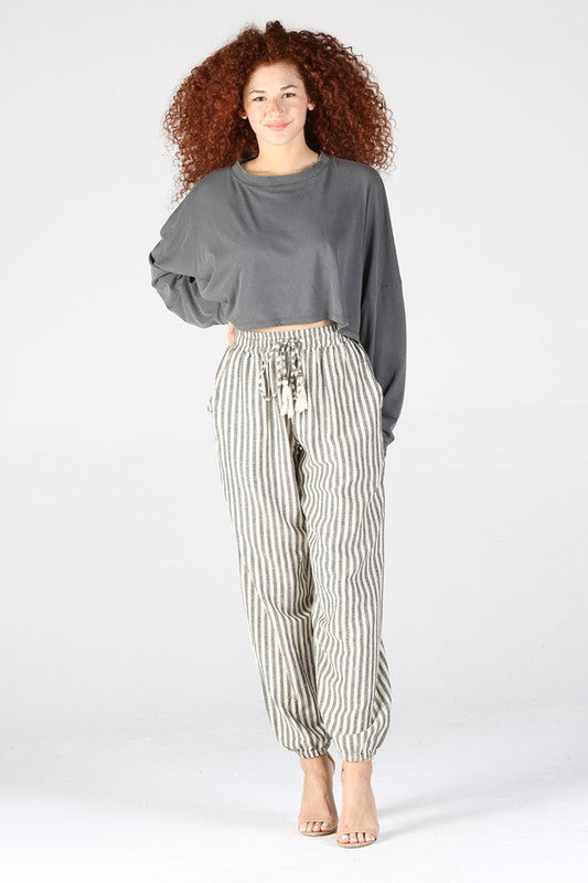 B3247-RD70-1-Angie-vertical stripe jogger pants-RK Collections Boutique
