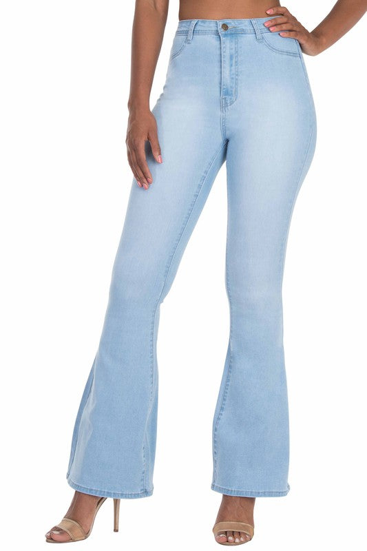 BC002-S-Denim Zone-High Waisted bell bottom jeans-RK Collections Boutique