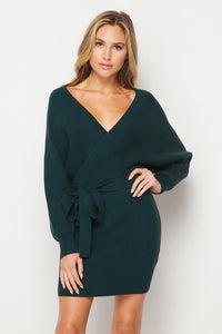 Dolman Sleeve V-neck Sweater Dress