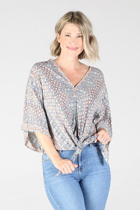 E2Q81FN53-1-Nostalgia-wide sleeve tie front v-neck top-RK Collections Boutique
