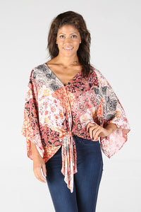 E2Q81FO71-1-Nostalgia-patchwork print tie front v-neck top-RK Collections Boutique
