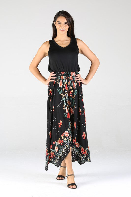 E6E22A652-1-Nostalgia-Floral handkerchief hem skirt-RK Collections Boutique