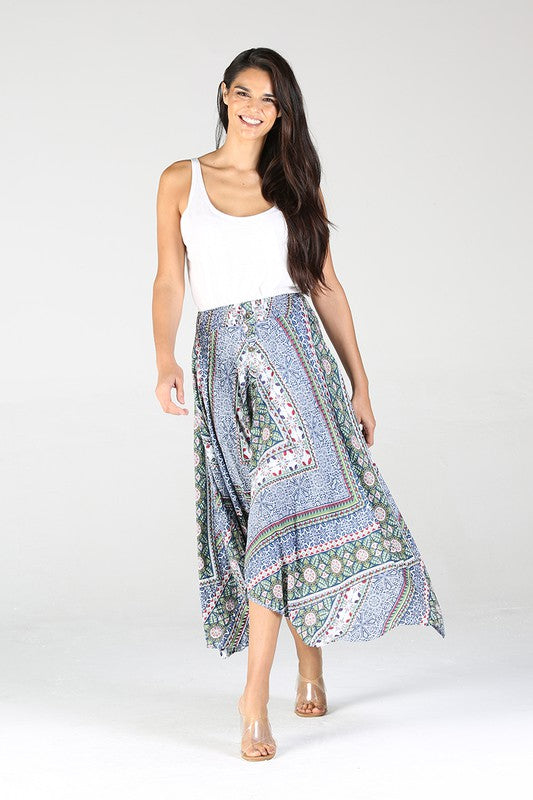E6E56A603-1-Nostalgia-Mosaic print handkerchief hem skirt-RK Collections Boutique