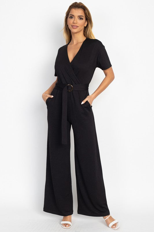 OP66803-1-Fashion USA-V Neck Wrap Front Belted Jumpsuit-RK Collections Boutique
