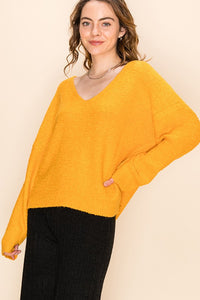 DZ20H174-4-Double Zero-textured v neck sweater-RK Collections Boutique