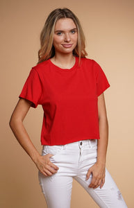 JT39918-1-Hearts & Hips-Crop raw edge tee-RK Collections Boutique