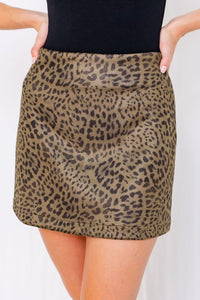 Leopard print suede mini skirt