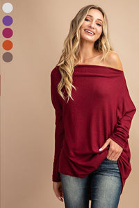 Brushed long sleeve off the shoulder top