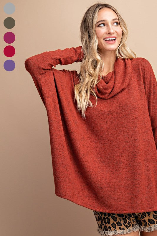 Brushed cowl neck long sleeve top