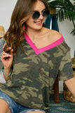 -Adora-Neon contrast v-neck camouflage tee-RK Collections Boutique