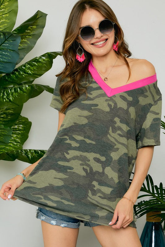MYT13215A-S-Adora-Neon contrast v-neck camouflage tee-RK Collections Boutique