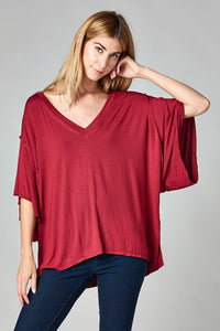 Oversized boxy buttery jersey v-neck top