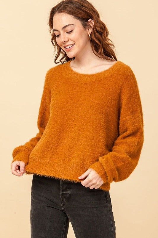 DZ20G926-1-Double Zero-fuzzy pullover sweater-RK Collections Boutique
