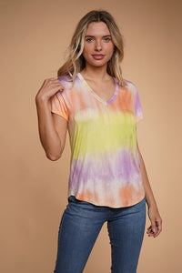 AY39931T58-1-Hearts & Hips-V-neck tie dye tee-RK Collections Boutique