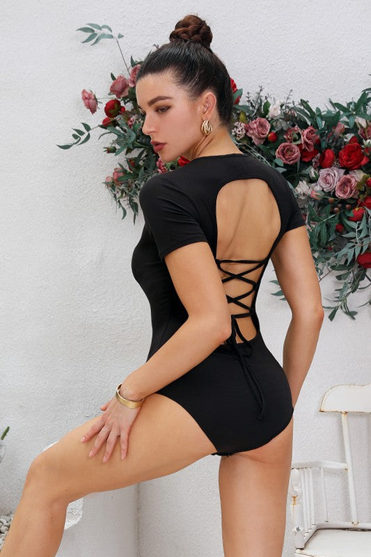 Open Back Short Sleeve Lace Up Bodysuit