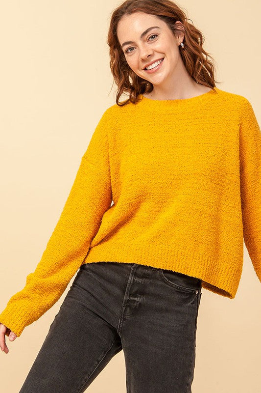 DZ20G919-1-Double Zero-round neck drop shoulder sweater-RK Collections Boutique
