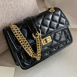 quilted fold over chain strap shoulder bag