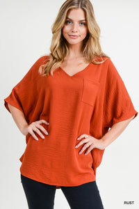 Chiffon Solid Boxy Pocket Top