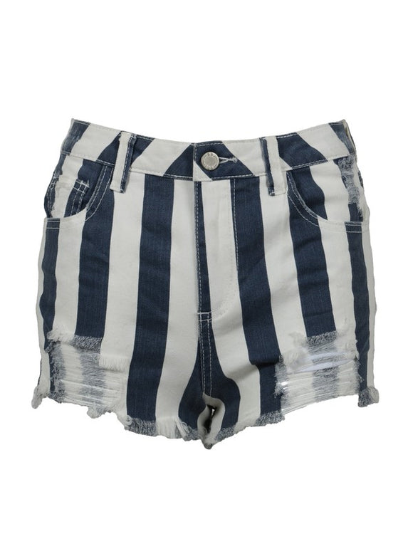 High Rise Destructed Striped Shorts