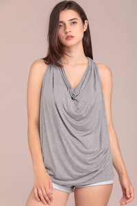 Cowl neck jersey sleeveless top