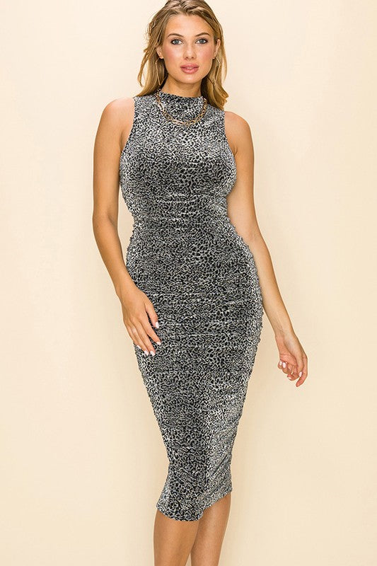 Ruched metallic leopard print midi dress