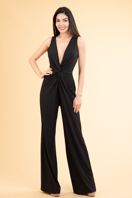Tonal stripe deep v-neck jumpsuit