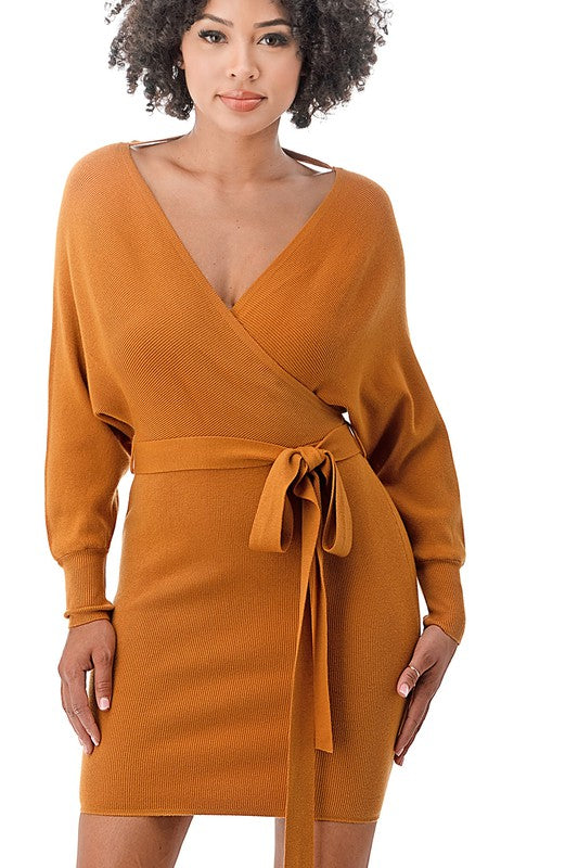 Off The Shoulder Dolman Long Sleeve Sweater Dress