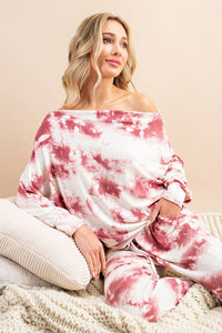 Off the shoulder tie dye long sleeve top