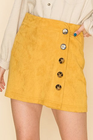 side button suede skort