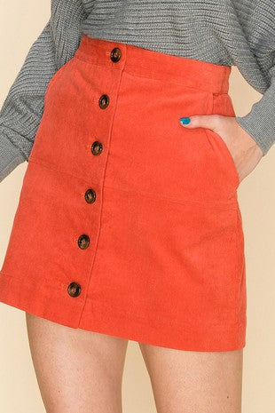 Button down corduroy mini skirt
