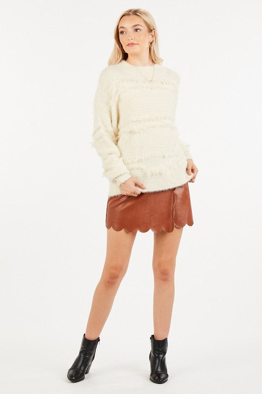 Scallop trim faux leather mini skirt