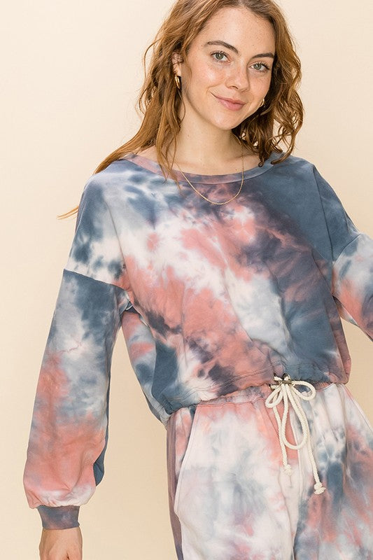 HF21C626-1-HyFve-Tie dye long sleeve top with drawstring-RK Collections Boutique