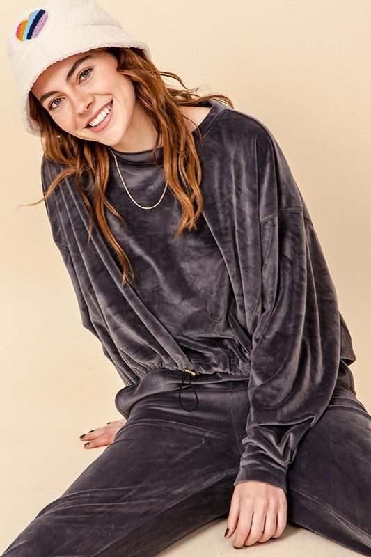 HF20H959-1-HyFve-Velour drop shoulder drawstring sweatshirt-RK Collections Boutique