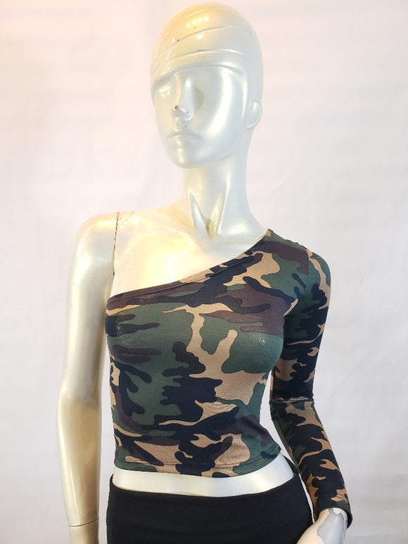 Jersey camo print one shoulder top