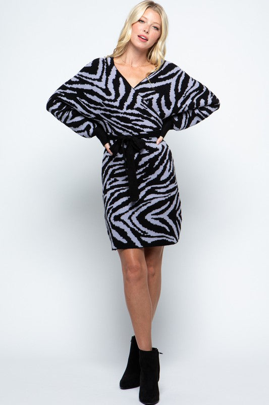 Zebra Dolman Sweater Wrap Dress