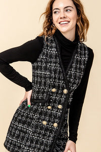 Tweed frayed edge vest