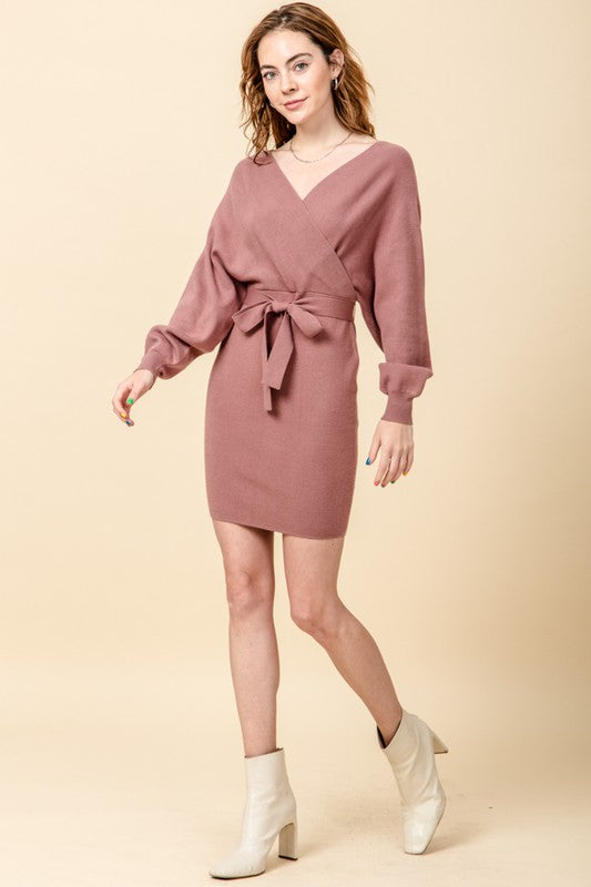 FL20H459-1-Favlux-Dolman sleeve surplice sweater dress-RK Collections Boutique
