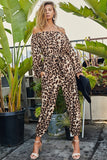 leopard off the shoulder jogger jumpsuit