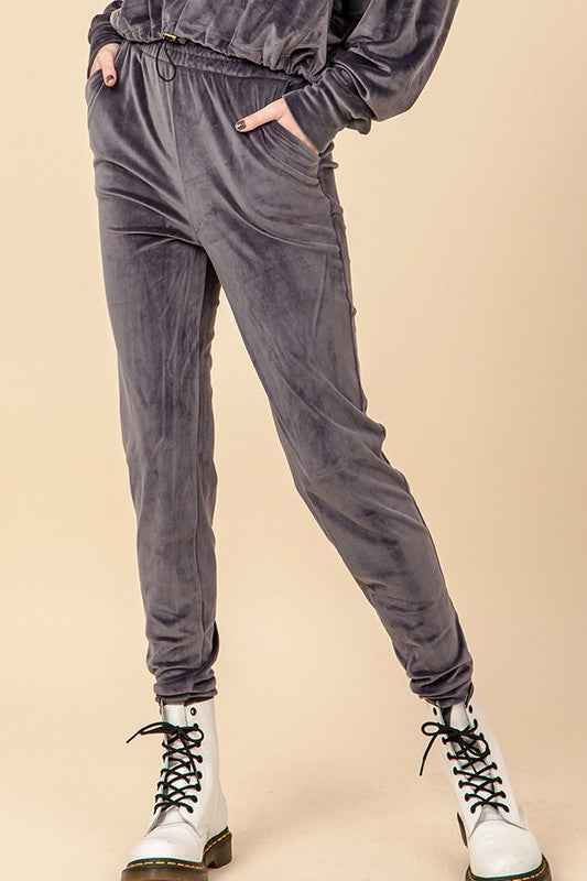 HF21C282-7-HyFve-Velour jogger pants-RK Collections Boutique