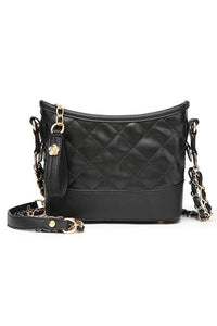 quilted top zip chain strap shoulder bag