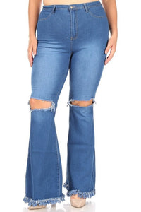 PLUS High waist bell bottom jeans with rip & fray