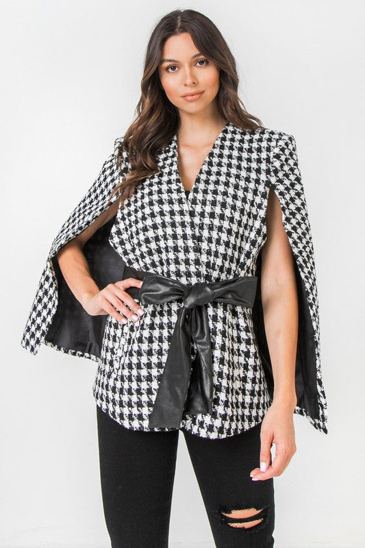 houndstooth plaid cape jacket