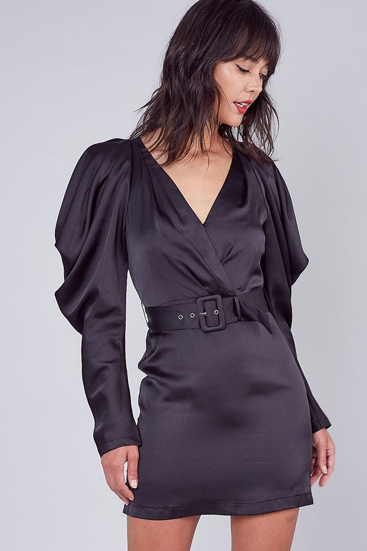 Satin cold shoulder belted dress