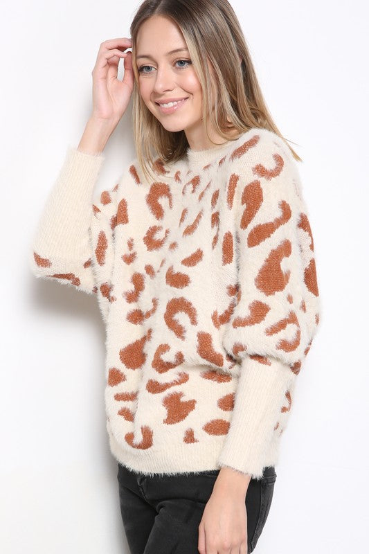 Fuzzy leopard sweater