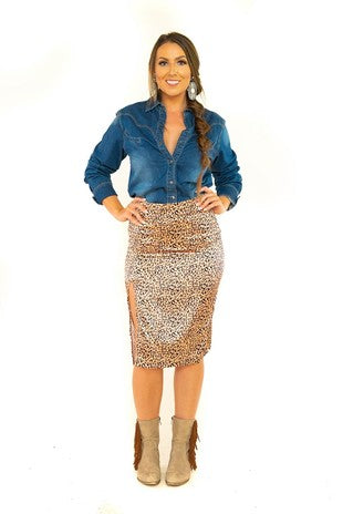 Satin Leopard High Waisted Tapered Skirt
