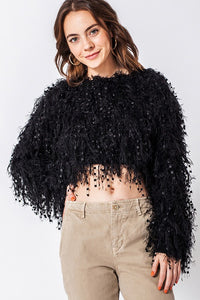 Fringe crop sweater