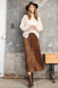 Leopard accordion pleated midi skirt