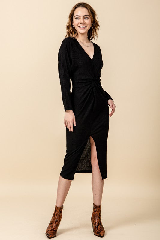 Ribbed midi dress with twist bust & front slit