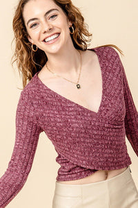 HF21C470-1-HyFve-Ribbed cross over long sleeve top-RK Collections Boutique